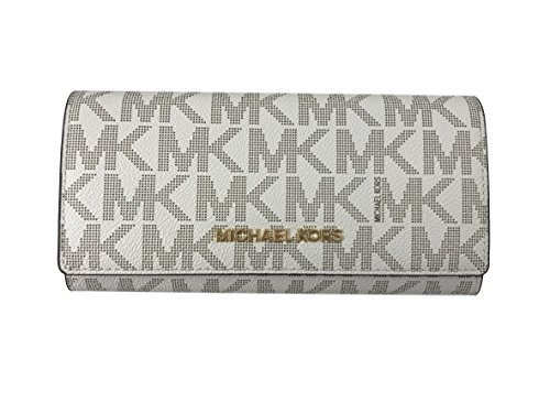 a95ebcef8dc6 Michael Kors Jet Set travel Carryall Signature PVC Clutch wallet in  Vanilla/Ballet by Michael