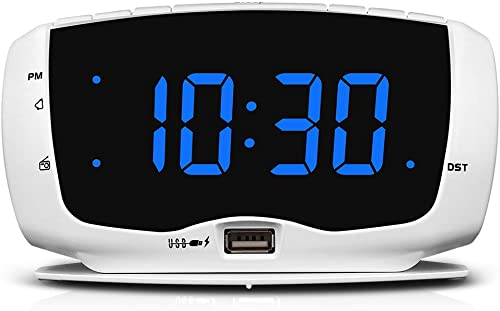 DreamSky Electronics Alarm Clock Radio for Bedrooms, FM Radio, 1.4 Inches Large LED Number Display, Dual USB Charging Ports, Headphone Jack, Snooze, DST, Sleep Timer White Blue