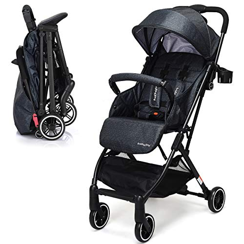 INFANS Lightweight Baby Pram | Folding Baby Stroller with Safe Five-Point Harness and Brake, Adjustable Backrest, Including Footrest, Storage Basket, Cup Holder, Suit for 0-3 Year (Ink)