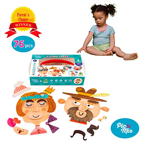 Picnmix Toddler Educational Toys & Games - Preschool Learning Toys - FUNNY FACES Velcro Toy for 3 Year Olds & Up - Eco-friendly Plastic Learning Games w/ Velcro Stickers - Educational Games for Kids