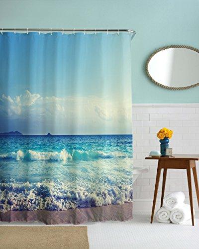 Ocean Waves Beach Waterproof Fabric Bathroom Shower Curtain, 72W by 72H, Blue White Brown