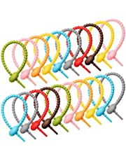 Senmubery 40Pcs Colorful Silicone Ties Bag Clip,Cable Straps, Bread Tie, Reusable Rubber Twist Tie, All-Purpose Silicone Ties