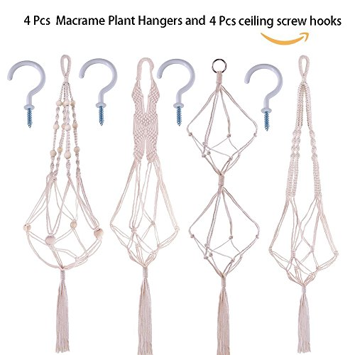 Supla 4 Pcs Macrame Plant HangersMacrame Pot Hanger 39.4'' 39.4'' 37'' and 35.4'' with 4 Ceiling Screw Hooks Macrame Plant Holder Pot Hanger Plant Holder Cotton Hanging Planter by Supla