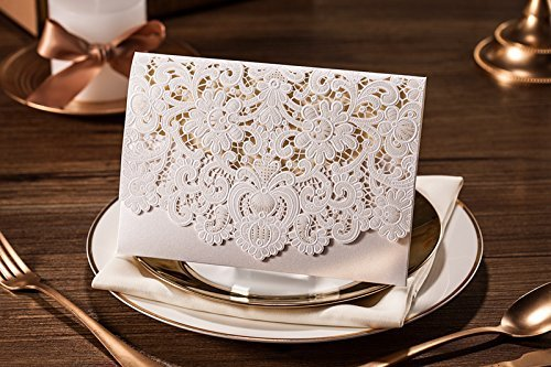 Doris Home 100pcs Ivory Horizontal Laser Cut Wedding Invitation with Hollow Flora Favors (pack of 100pcs) by Doris Home (Image #7)