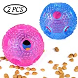 BAODATUI Dog Chew Toy - IQ Treat Ball Food Dispensing Interactive Toys for Small Medium Large Dogs - Nontoxic Rubber and Bouncy Durable Chew Ball - Cleans Teeth(2pcs)