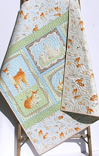 Baby Quilt, Fawn Deer Woodland Forest Animals, Toddler Blanket, Nursery Baby Bedding, Birch Forest Quilt, Boy Bedding, Woodland Quilt