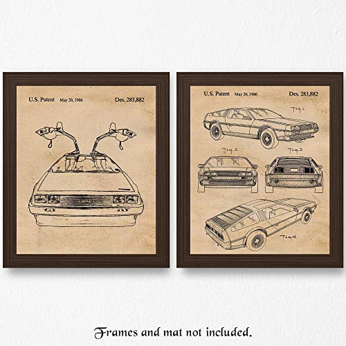 Original Delorean Patent Art Poster Prints - Set of 2 (Two) Photos - 11x14 Unframed - Great Wall Art Decor Gifts for Back To The Future Fans, Man Cave, Garage, Boy's Room, Office. from Stars Arts