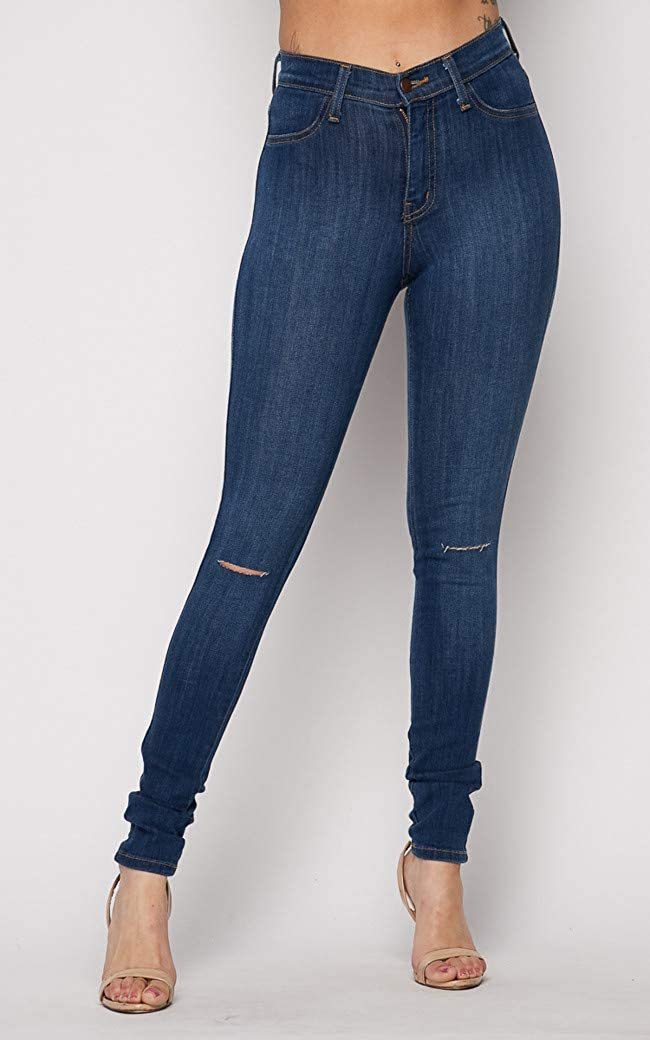7f9a9fe96f2 Vibrant Slit Knee High Waisted Solid Jeans at Amazon Women's Jeans store