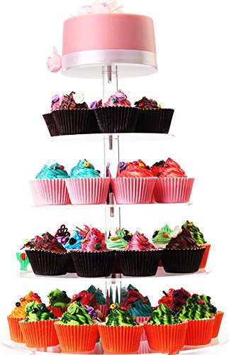 5 Tiers Wedding Party Round Acrylic Cupcake Stand,Dessert Display Stand (5 tiers round)
