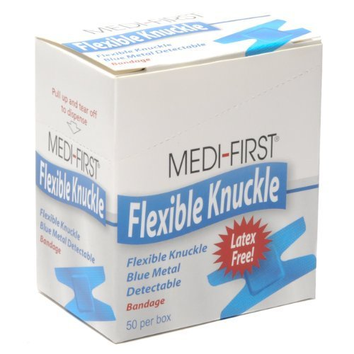 Medique Products 65250 Woven Knuckle Blue Metal Detectable Bandage, 50 Per Box -