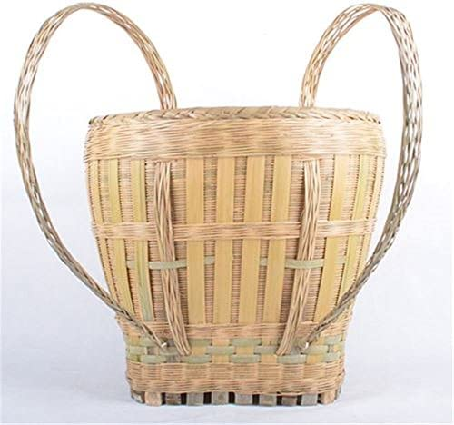 gannbarou 竹製背負いかご 背負い籠 リュック 山菜採り ナチュラル 竹収納 ハンドル付き