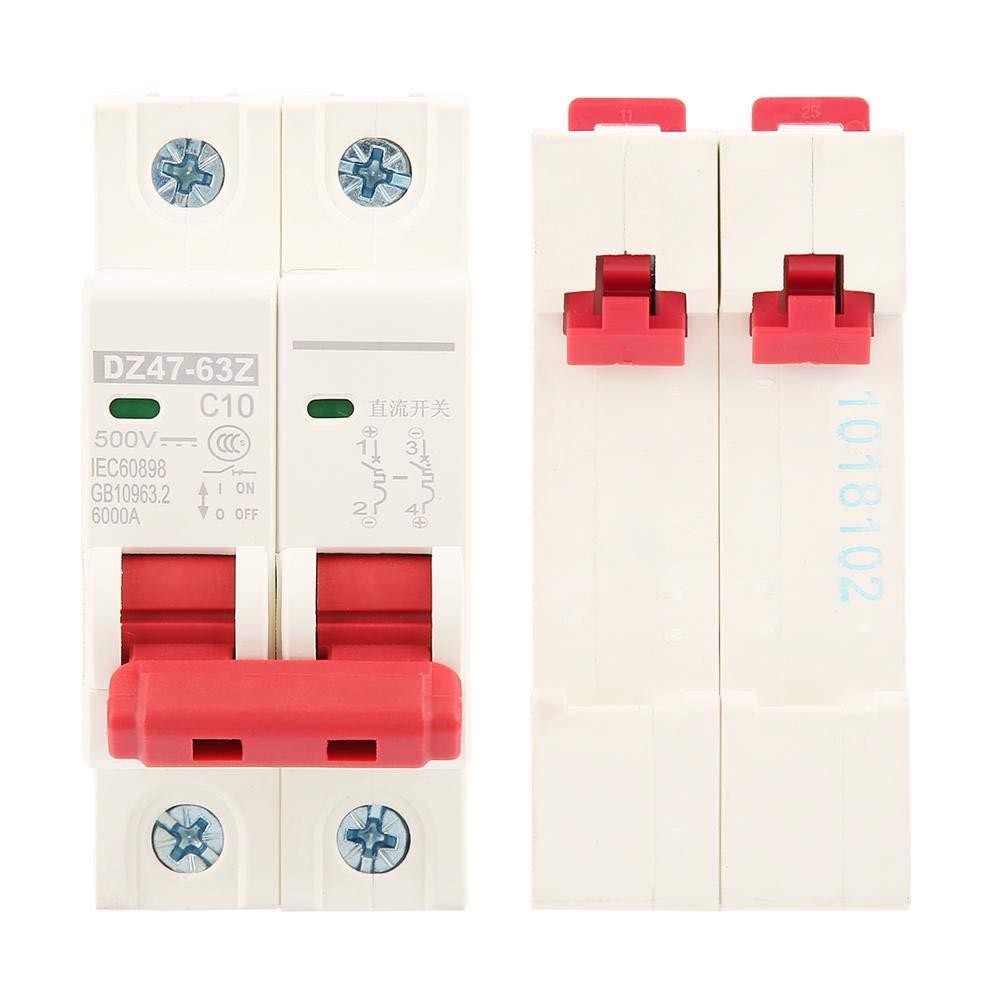 2P DC Disyuntor Miniatura 500V 10A Mini Disyuntor Fotovoltaico Mcb Interruptor de Seguridad DZ47-63Z-2P Accesorios de Protecci/ón El/éctrica