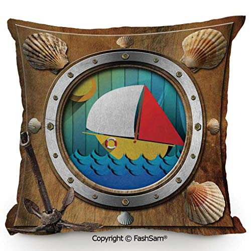 Home Super Soft Throw Pillow Metallic Porthole with Bolts Seashells Rusty Anchor and Boat Journey Voyage Activity for Sofa Couch or Bed(16