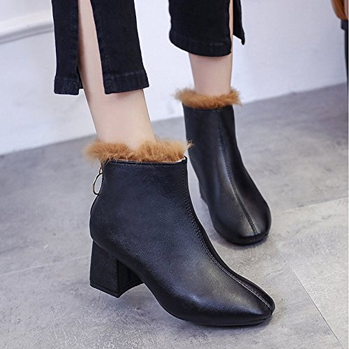 Winter Black Shoes Ankle ZHZNVX Comfort Boots Heel Boots Booties Lining Casual Bootie Fur HSXZ for Chunky Toe Round Women's Black Dress PU White gExR4wIq