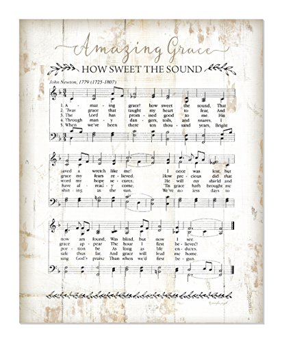 Amazing Grace Sheet Music Rustic Wood Style Wall Sign 12x15