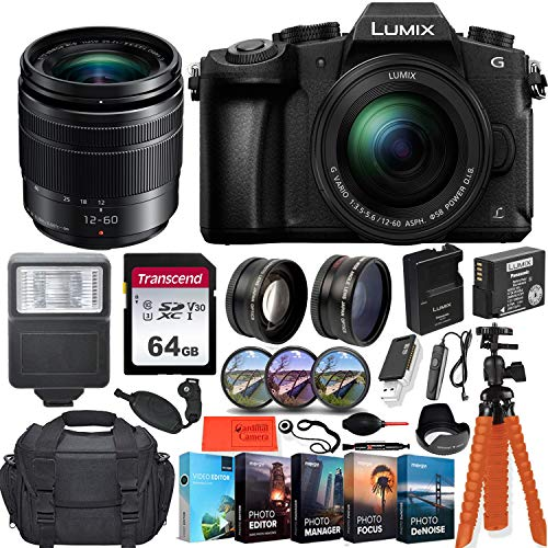 (Panasonic Lumix DMC-G85 4K Wi-Fi Digital Camera with 12-60mm Lens + 64GB Transcend Memory Card + Battery & Charger + Case + Spider Tripod and More...)