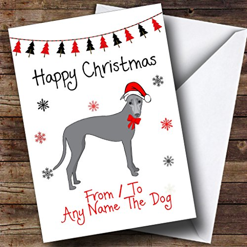 Pet Christmas Cards Personalized - Greyhound From Or To The Dog Pet Personalized Christmas Holiday Greetings Card