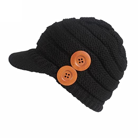 2e5ccd129 Brim Hat Beanie Hat , Binmer(TM) Women Ladies Winter Button Knitting Berets  Turban Brim Hat Pile Cap