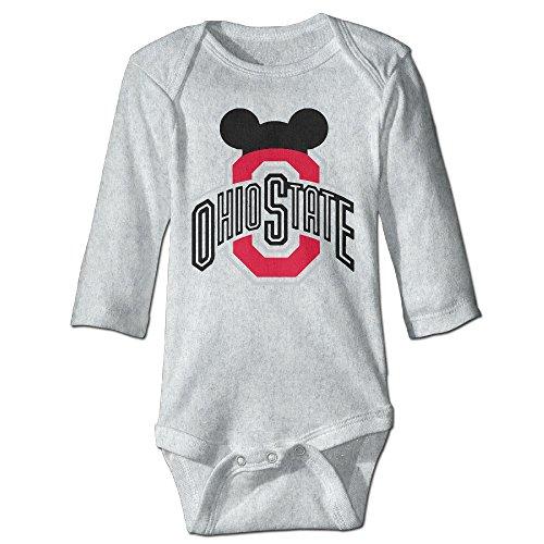 NINJOE Newborn Babys Ohio State Football Long Sleeve Bodysuit Baby Onesie