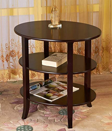 Amazing Buys - 3 Tier Oval End Table/Side Table in A Cherry Finish - Oval Wood Finish End Table