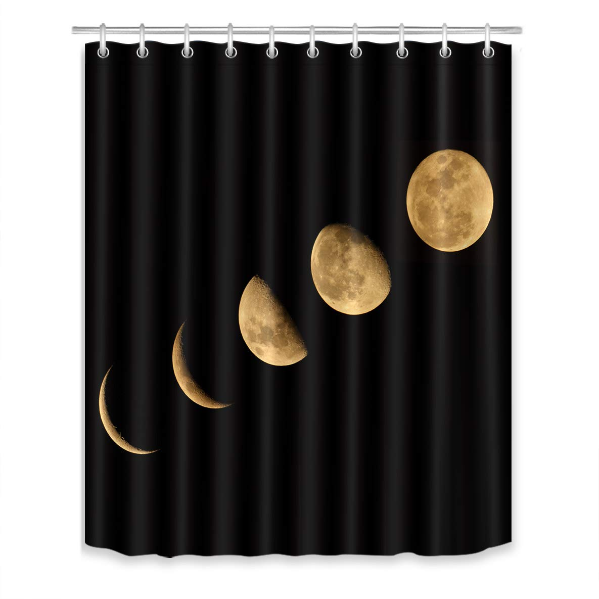 LB Moon Phase Shower Curtain Set,Nature Lunar Eclipse Solar System Black Bathroom Curtain Decor Polyester Fabric Bath Curtain with Hooks,Mildew Resistant Waterproof 60x72 inch