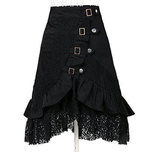 [Women's Steampunk Gothic Clothing Vintage Cotton Lace Skirts Black Gypsy Hippie Large] (Steampunk Corset Dress)