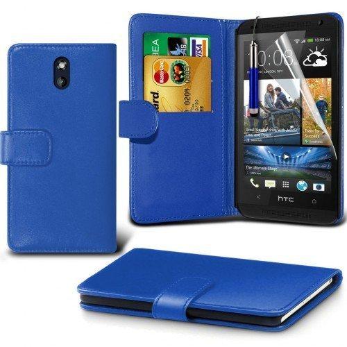 HTC Desire 610 Cubierta del caso con cuero (Azul) Plus de regalo libre, Protector de pantalla y un lápiz óptico, Solicitar ahora mejor caja del teléfono Valorado en Amazon! By FinestPhoneCases