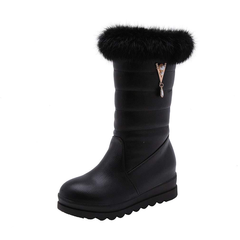 Hy 2018 Winter Frauen Schnee Stiefel Stiefel Winter Künstliche PU Flache Stiefelies Dicken Boden Warme Große Größe Mitte Stiefel Outdoor Ski Schuhe (Farbe   Schwarz Größe   35)