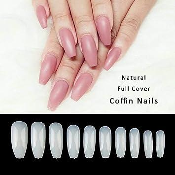 Feodor - 500 piezas de uñas postizas de acrílico transparente francés con caja: Amazon.es: Belleza