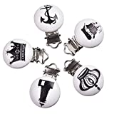 Best Funnytoday365 Pacifiers - Funnytoday365 Popular 5Pcs Round Random Sailor Rudder Anchor Review