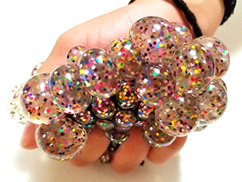 (JM 7cm X-Large Glitter Sequins Crystal Clear Slime Squishy Mesh Anti Stress Reliever Grape Ball Autism Mood Squeeze Kid Toy Gift (Black Net / 1 Pcs))