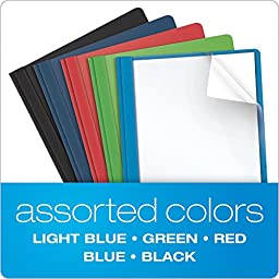 Oxford Clear Front Report Covers, Letter Size, Assorted Colors, 25 per Box (55813EE)