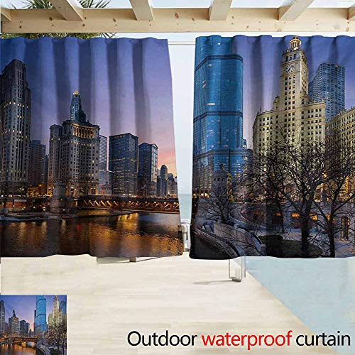 Wlkecgi Landscape Outdoor Curtain Panel for Patio USA Chicago Cityscape with Rivers Bridge and Skyscrapers Cosmopolitan City Image Curtains for Living Room W55 xL72 Multicolor