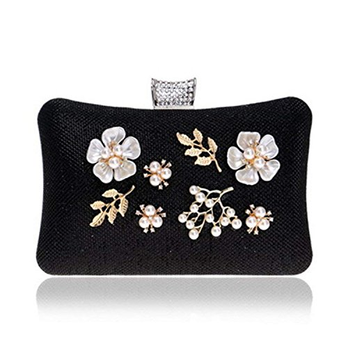 Evening Women Purse Silver Bags Bags Sequined Clutch Black Ym8102black Chain Shoulder Wedding Gold Rising Bags Pearl Diamonds ON ZYx4wf5qp