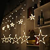 LED Star Curtain String Light, 138 LED Linkable Window Curtain Lights 8 Flashing Modes Decoration for Christmas, Halloween, Wedding, Home, Patio Lawn, Warm White