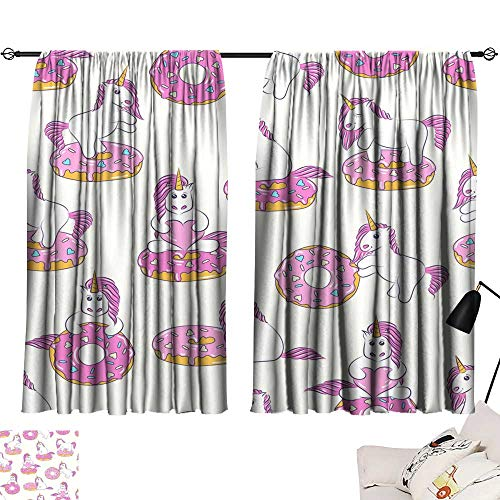 """Adjustable Tie Up Shade Rod Pocket Curtain Seamless pattern with cute baby unicorns and donuts Background for kids design Pattern can be used for wallpaper web page surface textures package1 63""""x72"""","""