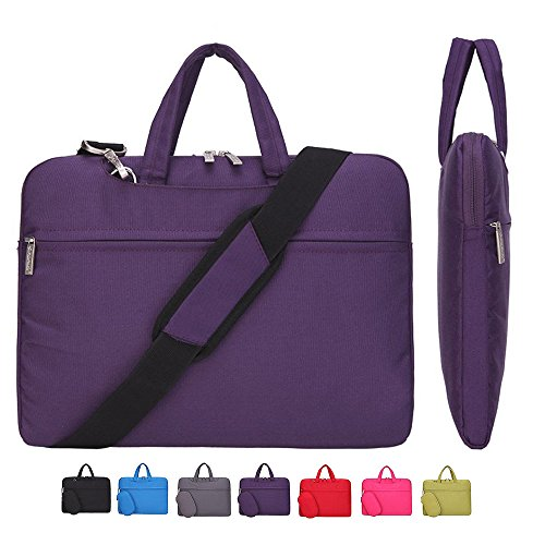 Lightweight Notebook Case - Laptop Case, Laptop Shoulder Bag, CROMI Simplicity Slim Lightweight Briefcase Commuter Bag Business Sleeve Carry Hand Bag Nylon Waterproof Notebook Shoulder Messenger Bag (Purple, 13.3 inch)