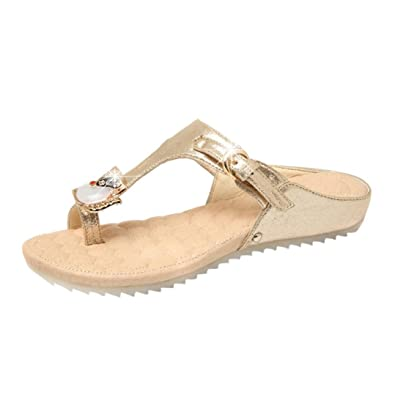 8b8ddc942585 Image Unavailable. Image not available for. Color  AOJIAN Sandals Slipper  Women Rhinestone Flat Heel Anti Skidding Beach Shoes 2018 Fashion