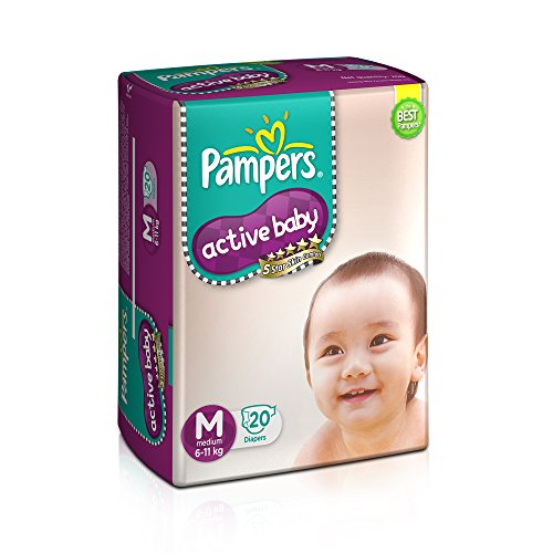 Pampers Active Baby Tape Diapers Medium M Size 20 Pieces