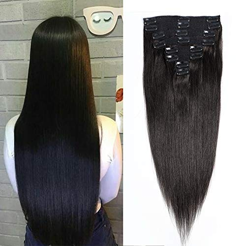 Jisheng 28inch Clip In Human Hair Extensions 7pcs 16 Clips 160g Double Weft Brazilian Silky Straight Virgin Hair 100% Human Hair Clip In Extensions Natural Black