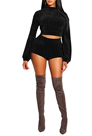 e2464e9e188 Women Sexy Crew Neck Knit Sweater 2 Piece Outfits£¬Long Sleeved Loose  Sweater and
