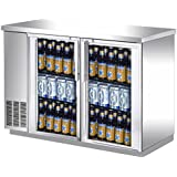 UBB-24-48GS 48 Narrow Glass Door Stainless Steel Back Bar Cooler with LED Lighting