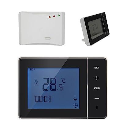 Radio frecuencia 3A 5A 16A termostato programable digital para calefaccion suelo y caldera gas - blanco