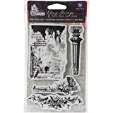 Prima Marketing Garden Fable Cling Rubber Stamps 4 x 6-inch-Column, Newsprint and Floral