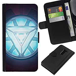 NEECELL GIFT forCITY // Billetera de cuero Caso Cubierta de protección Carcasa / Leather Wallet Case for LG G2 D800 // ARC REACTOR GLOW