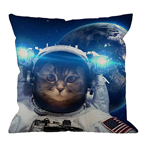 Cat Throw Pillow Cover Decorative By HGOD DESIGNS Astronaut Cat Nebula Galaxy Outer Space Throw Pillow Cotton Linen Square Pillow Case for Men/Women/Kids 18x18 inch Blue Black and White
