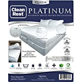 CleanRest Platinum Waterproof, Allergen Bed Bug Blocking Quilted Pad Encasement Queen Mattress Protector, White