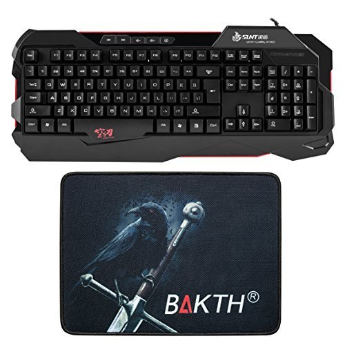 BAKTH Gaming USB Wired Multimedia Keyboard 109 Keys US Layout + Durable Large Mouse Mat
