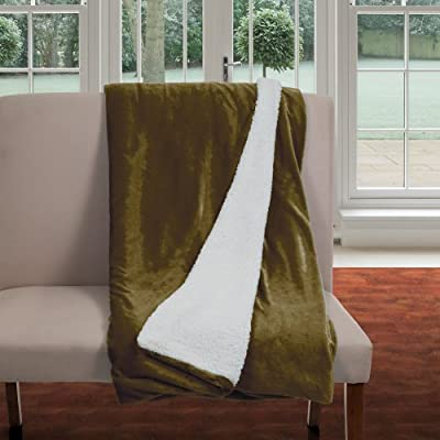 Bedford Home Fleece Blanket with Sherpa Backing, Full/Queen, Brown - Style: Fleece Blanket with Sherpa Backing Material: 100% Polyester Care Instructions: Machine Wash with Cold Water, Tumble Dry Low Heat - blankets-throws, bedroom-sheets-comforters, bedroom - 51bxSLJBzsL. SS400  -