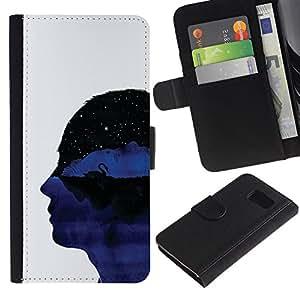 Billetera de Cuero Caso Titular de la tarjeta Carcasa Funda para Samsung Galaxy S6 SM-G920 / Profile Portrait Head Universe Thoughts Symbolic Art / STRONG